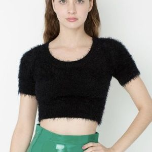 American apparel black fuzzy crop top M